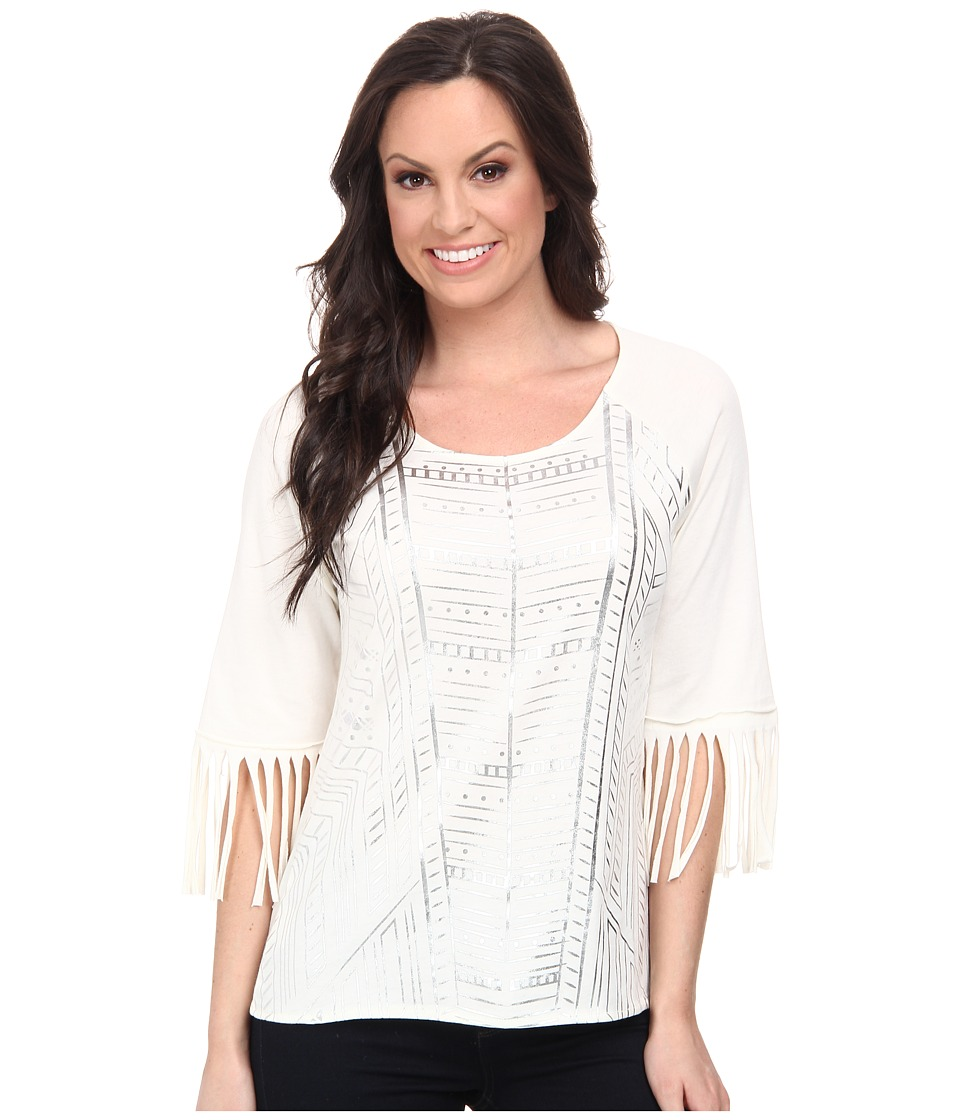 Cruel - Cotton-Poly Top with 3/4 Fringe Sleeves Silver Metallic Screenprint (White) Women