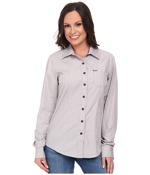 Cruel - Cotton Plain Weave with Metallic Mylar Stripes Navy Logo Buttons Logo Embroidery (Grey) Women