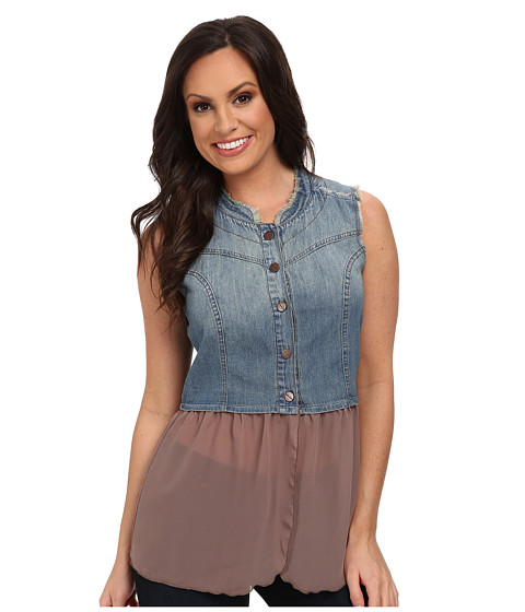 Cruel - Denim Vest with Chiffon Peplum Copper Screw Buttons (Indigo) Women