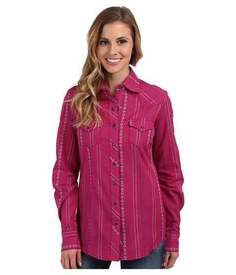 Cruel - Arena Fit Plain Weave Dobby Stripe Purple Snaps Logo Embroidery (Pink) Women's Long Sleeve Button Up