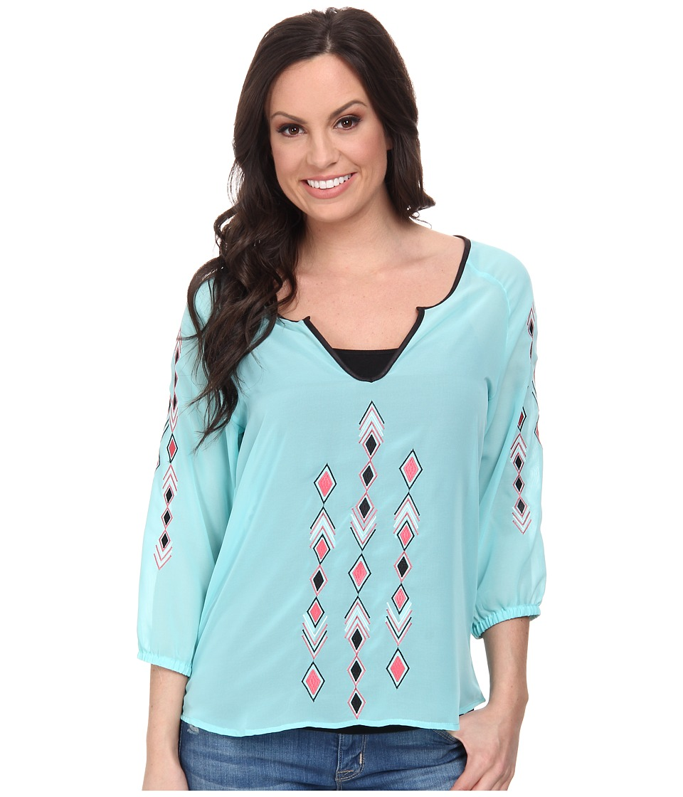 Cruel - Poly-Chiffon Top with 3/4 Sleeves Contrast Embroidery Along Front and Sleeves (Blue) Women's Blouse