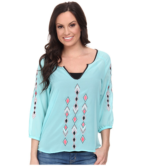 Cruel - Poly-Chiffon Top with 3/4 Sleeves Contrast Embroidery Along Front and Sleeves (Blue) Women