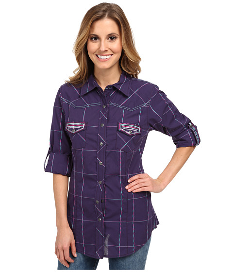 Cruel - Long Sleeve Plaid Plain Weave with Multicolored Yarns Packet Flap and Sleeve Tab Embroidery Metal Snaps (Purple) Women