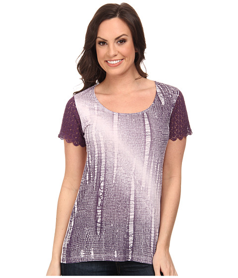 Cruel - Cotton-Modal Scoop Neck Top with Crochet Cap Sleeves Front Screen Print (Purple) Women's Clothing