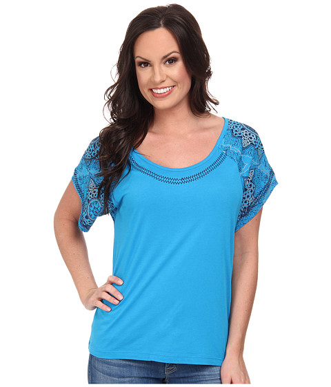Cruel - Cotton-Modal Tulip Sleeve Top Contrast Stitching Screen Printed Sleeves with Embroidery (Blue) Women's Clothing