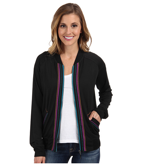Cruel - Zip Athletic Bomber Cnotrast Embroidery (Black) Women's Clothing