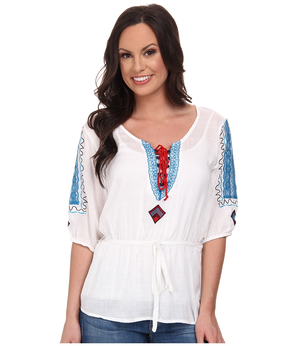 Cruel - Rayon Cross-Hatch Tunic Peasant Top Self Belt Lace Piecing Contrast Stitching and Embroidery (White) Women