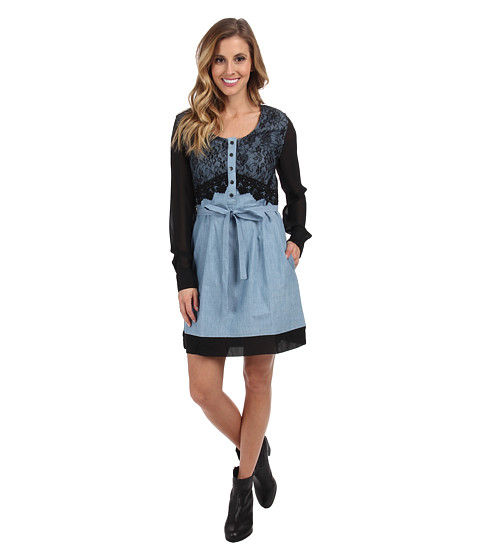 Cruel - Cotton Chambray Dress Chiffon Sleeves Self Belt Front and Back Lace Overlay (Blue) Women's Dress