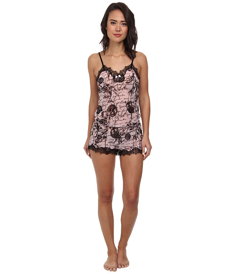 Betsey Johnson - Knit Chiffon Teddy (Love Letters) Women's Jumpsuit & Rompers One Piece