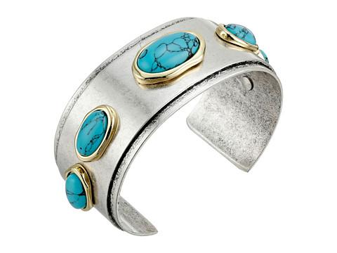 Sam Edelman - Stone Inlay Cuff Bracelet (Turquoise/Rhodium) Bracelet