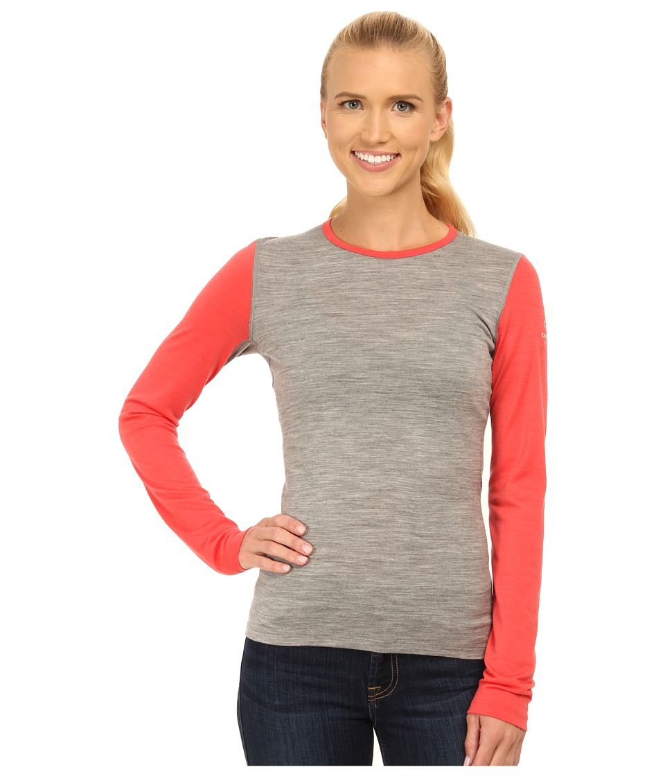 Icebreaker Oasis Long Sleeve Crewe (Metro Heather/Grapefruit/Grapefruit) Women