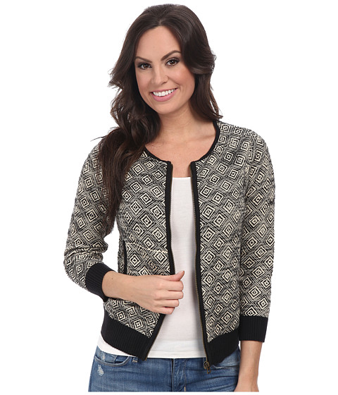 Lucky Brand - Bomber Sweater Jacket (Black Multi) Women's Coat