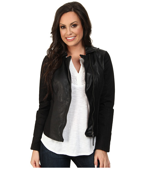 Lucky Brand - Leather Mixed Jacket (001 Lucky Black) Women's Coat