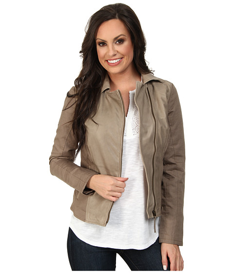 Lucky Brand - Leather Mixed Jacket (Taupe) Women's Coat
