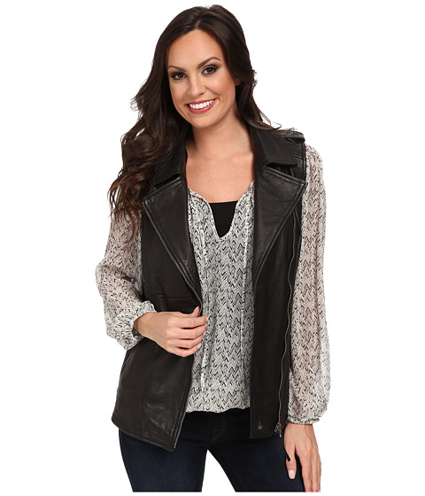 Lucky Brand - Slouchy Leather Vest (001 Lucky Black) Women