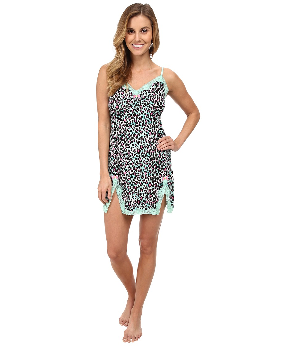 Betsey Johnson - Rayon Knit Slip (Boca Leopard Mint Coco Chip) Women