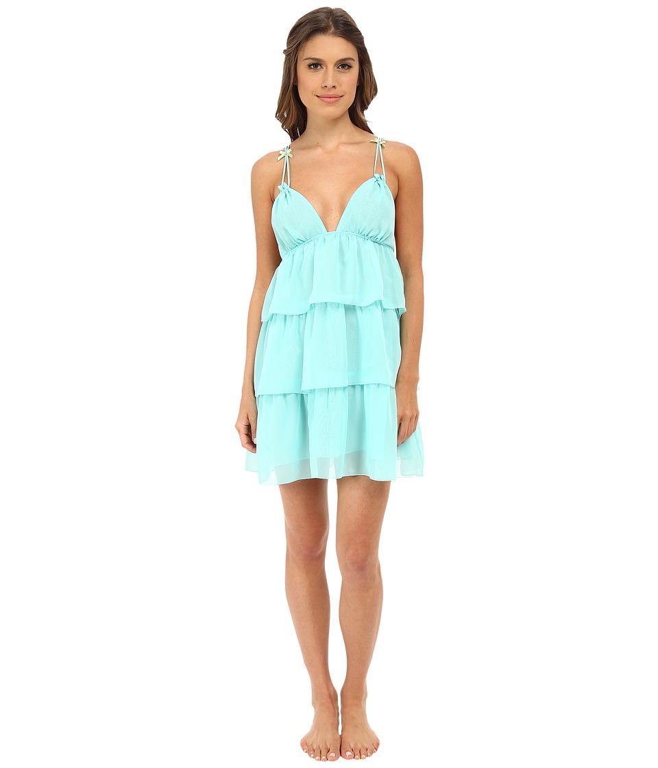 Betsey Johnson - Chiffon Ruffle Slip (Jamaica Blue) Women's Pajama