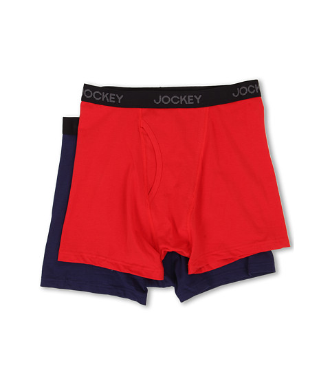 Jockey - Cotton Stretch Full-Rise Boxer Brief 2-Pack (Race Car Red/So Blue) Men