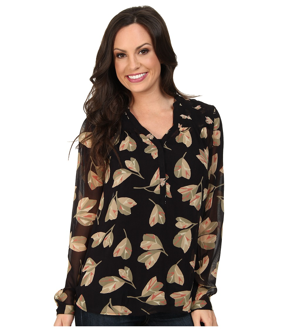 Lucky Brand - Mixed Floral Top (Black Multi) Women's Long Sleeve Pullover