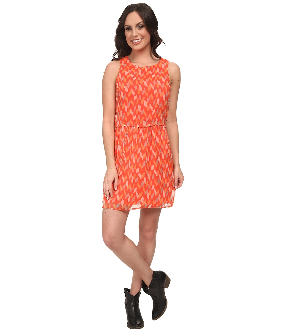 Lucky Brand - Ikat Tile Dress (Coral Multi) Women's Dress