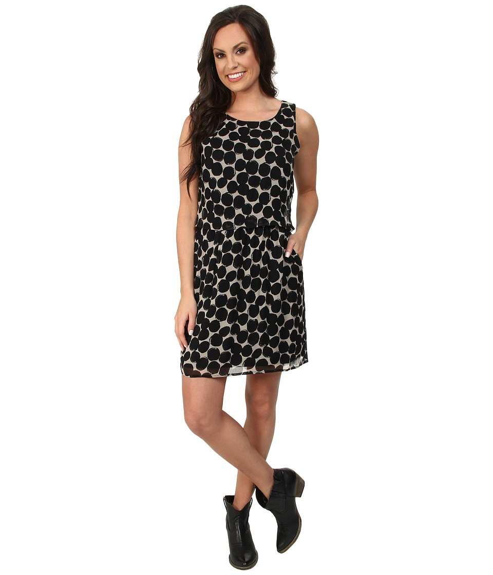 Lucky Brand - Exploded Polka Dot Dress (Black Multi) Women's Dress