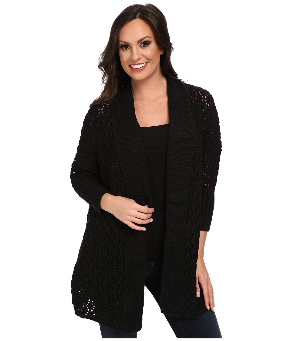 Lucky Brand - Textured Cocoon Cardigan (Lucky Black) Women's Sweater plus size,  plus size fashion plus size appare