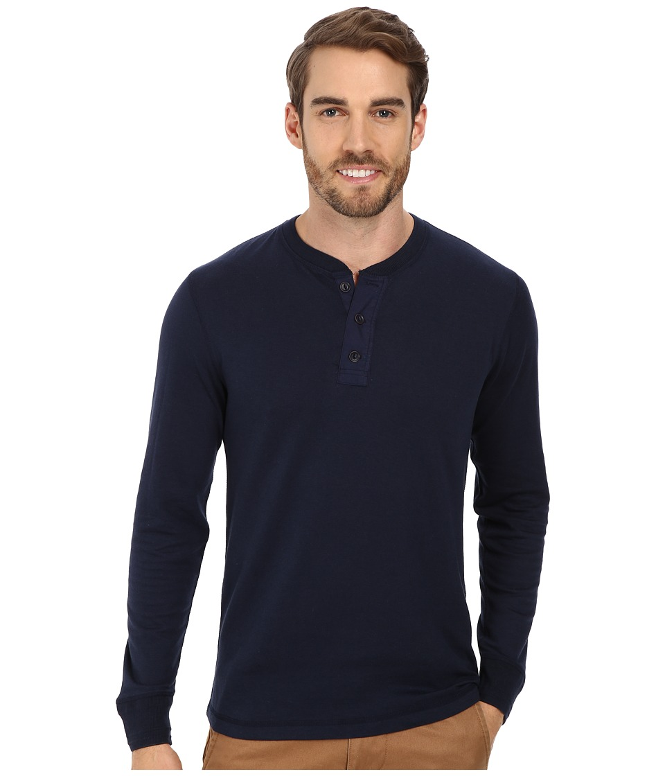 Lucky Brand - Triblend Duofold Henley (American Navy) Men's Clothing