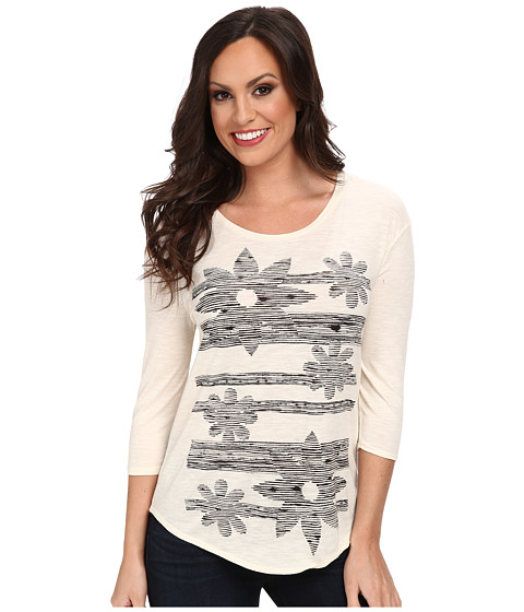 Lucky Brand - Sketched Floral Tee (#1283 Whisper White) Women