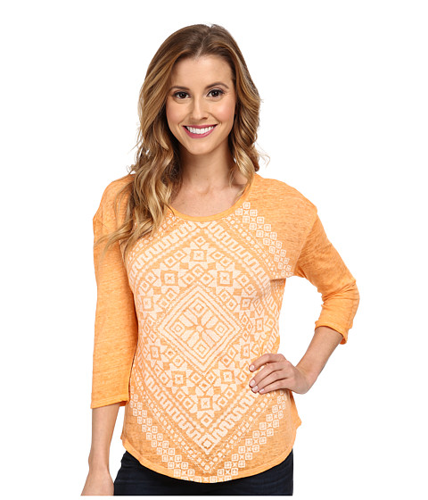 Lucky Brand - Burn Out Scarf Tee (#8099 Cantelope) Women's Long Sleeve Pullover