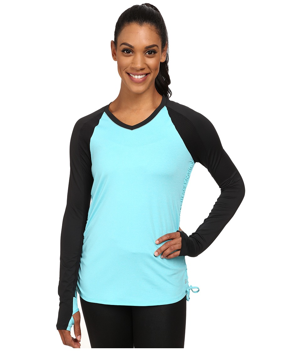 Skirt Sports - Peek-A-Boo Long Sleeve Top (Blue Ice) Women's Long Sleeve Pullover plus size,  plus size fashion plus size appare