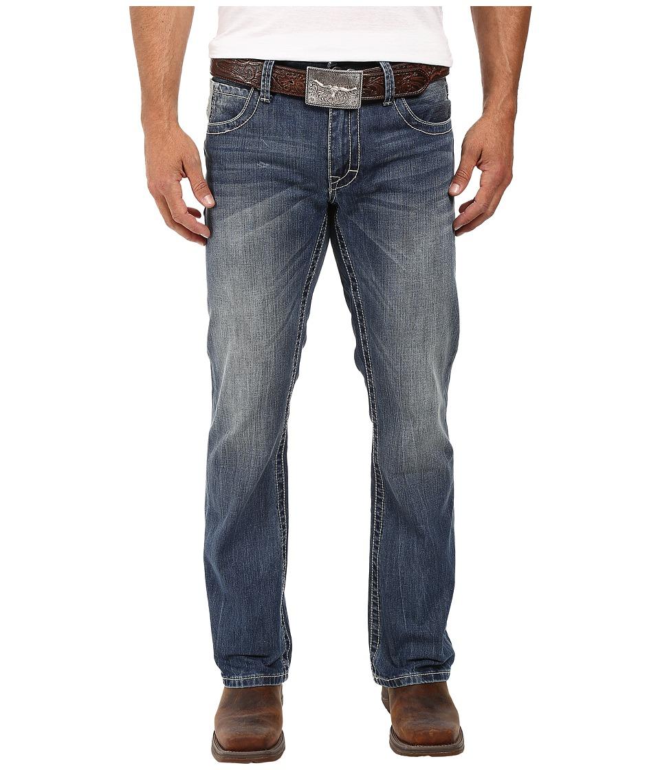 Stetson - 1014 Rocker Fit Art Deco Contrast Stitched Back Pocket (Blue) Men's Clothing