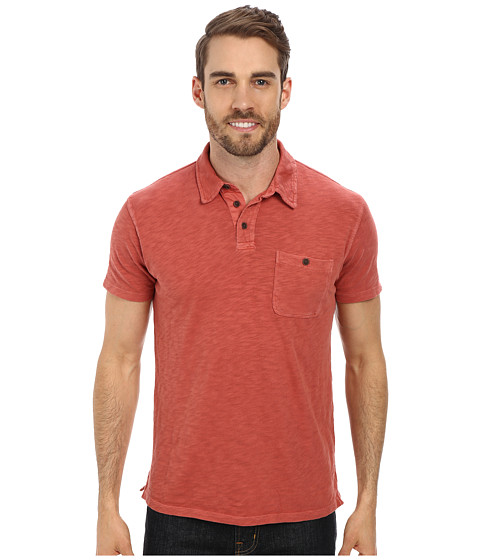 Lucky Brand - Malibu Military Polo (Sun Dried Red) Men's Short Sleeve Pullover