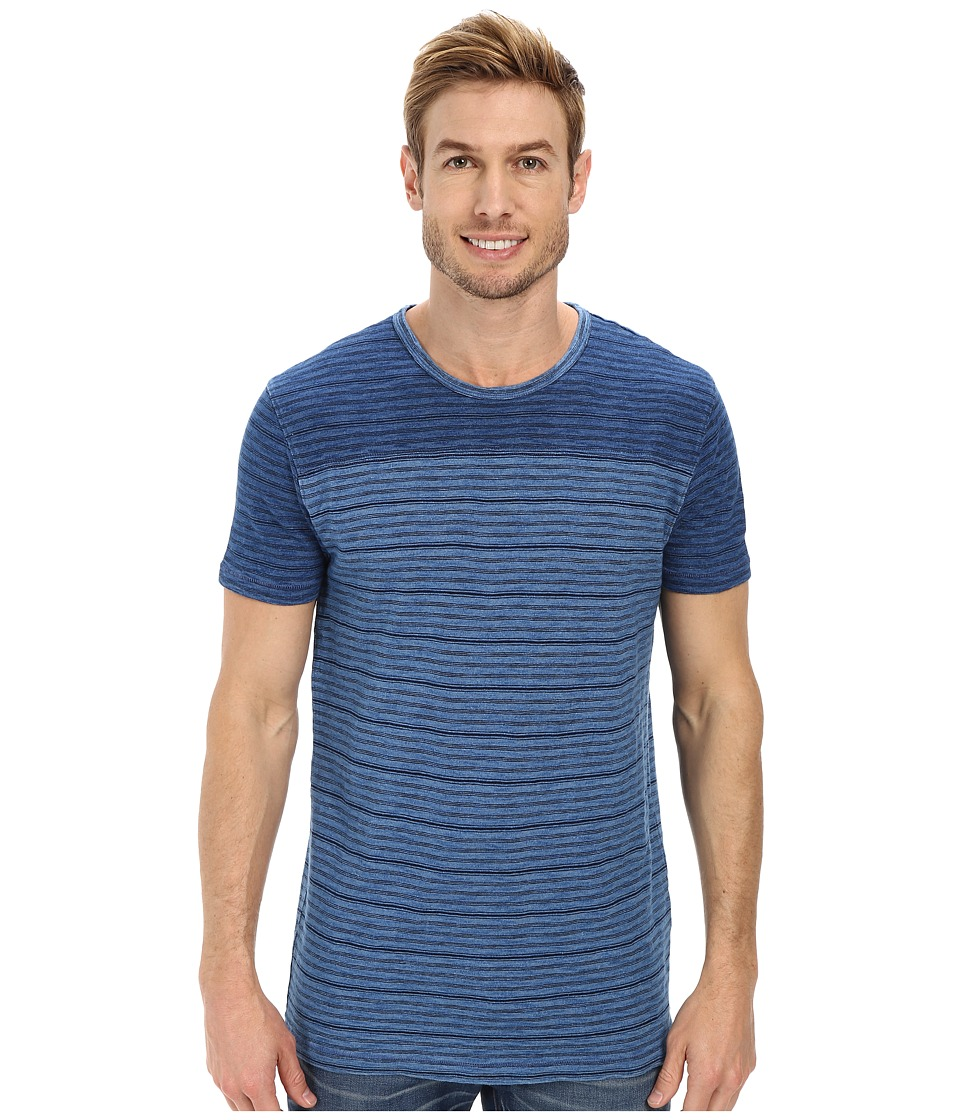 Lucky Brand - Indigo Yarn Dye Stripe Short Sleeve Crew (Indigo) Men