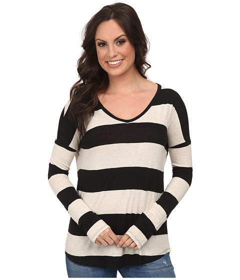 Lucky Brand - Wide Stripe Top (Black Stripe) Women's Clothing