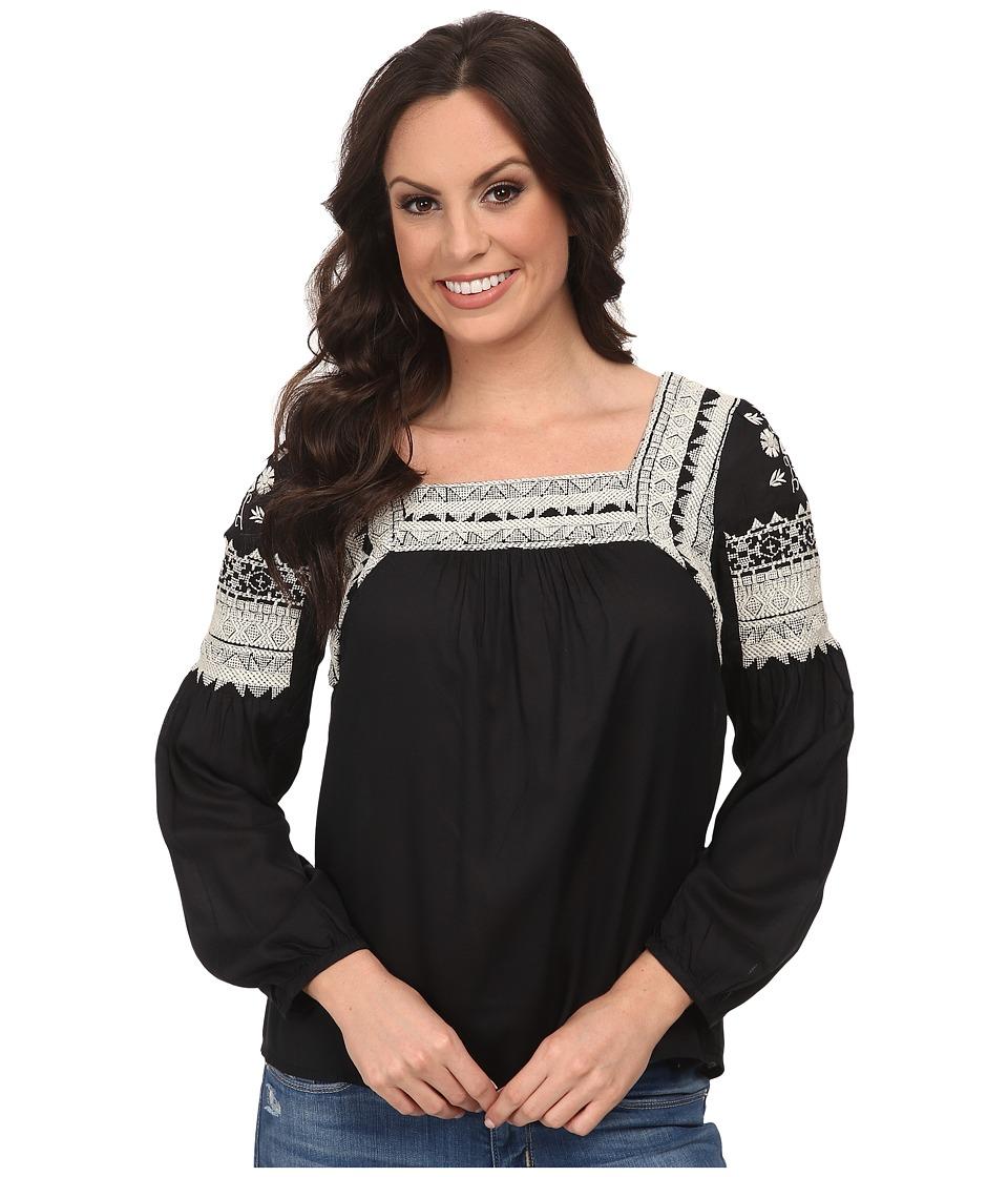 Lucky Brand - Novelty Top (Black Multi) Women's Clothing