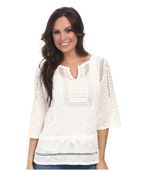 Lucky Brand - Lace Peplum Top (White/Natural) Women's Clothing