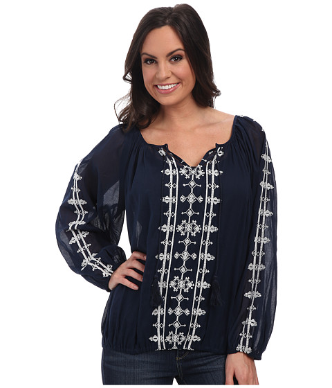 Lucky Brand - Embroidered Boho Top (Navy Multi) Women's Clothing