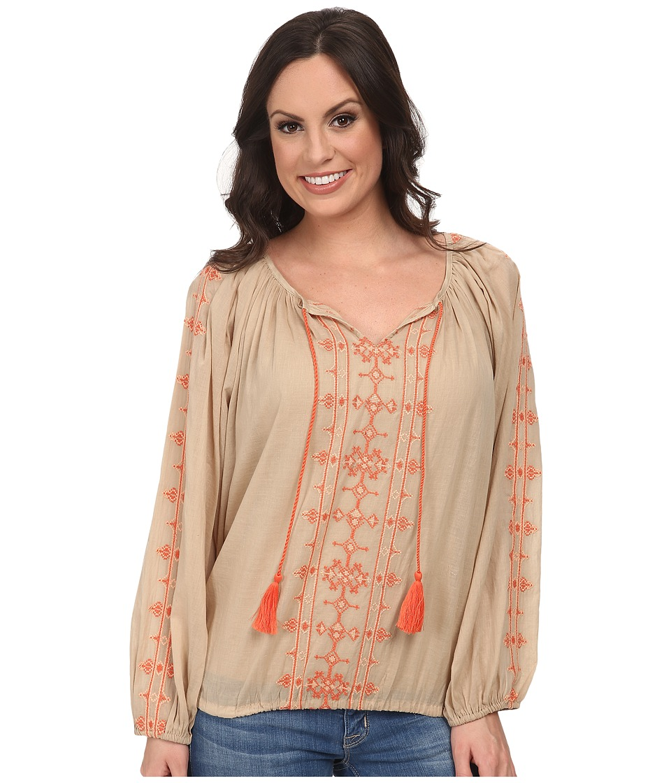 Lucky Brand - Embroidered Boho Top (Tan Multi) Women's Clothing