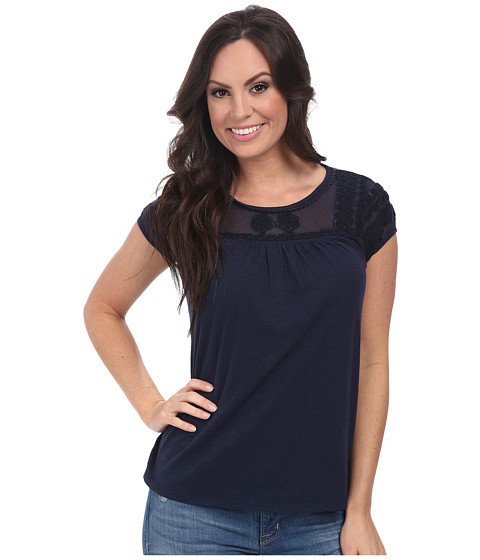 Lucky Brand - Soutache Yoke Top (American Navy) Women's Clothing