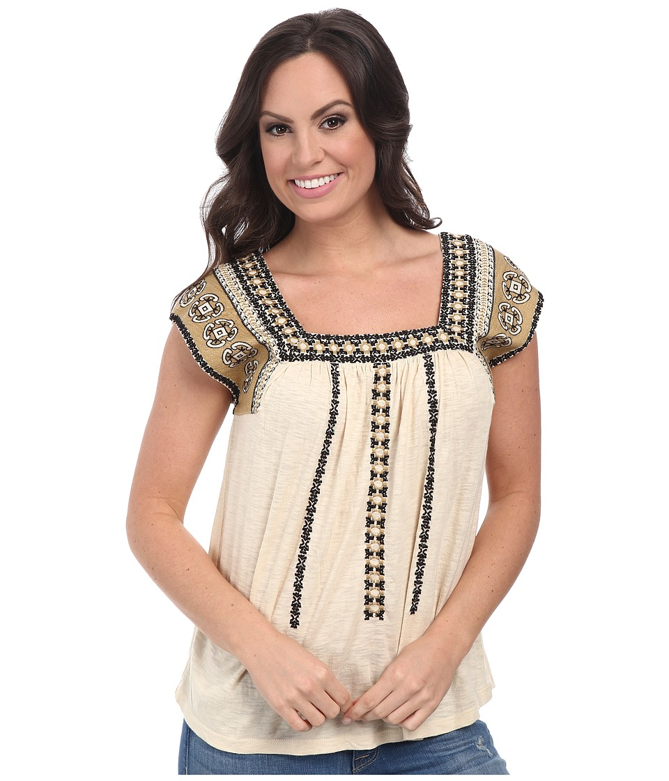 Lucky Brand - Mixed Embroidered Top (#2413 Nigori) Women's Clothing