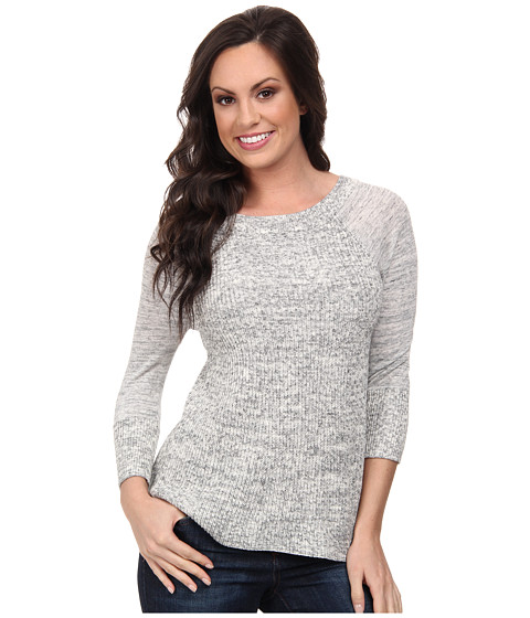 Lucky Brand - Fabric Mixing Pullover (Heather Grey) Women