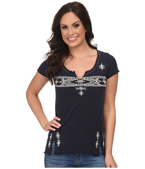 Lucky Brand - Folk Embroidered Top (American Navy) Women's Clothing