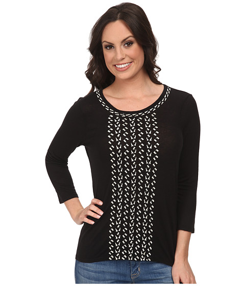 Lucky Brand - Cascading Embroidery Top (Lucky Black) Women's Clothing