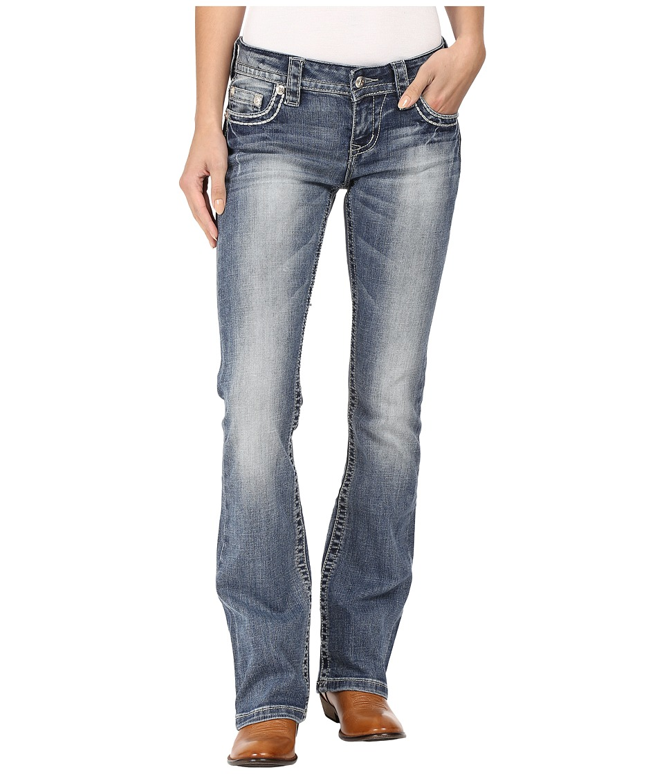 Stetson - 818 Contemporary Bootcut with Heavy Contrast Stitch and Flap Back Pocket (Blue) Women's Jeans