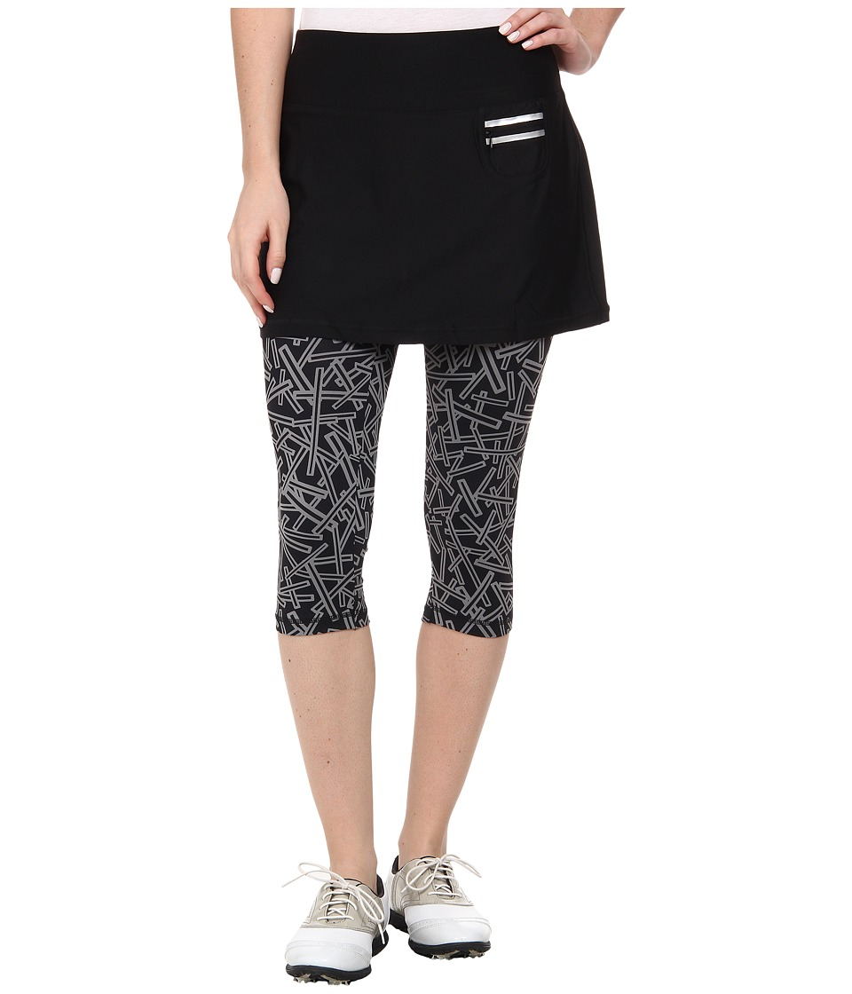 Jamie Sadock - Actif 26 in. Chopstix Print Capri with Attached Skort (Jet Black) Women's Capri