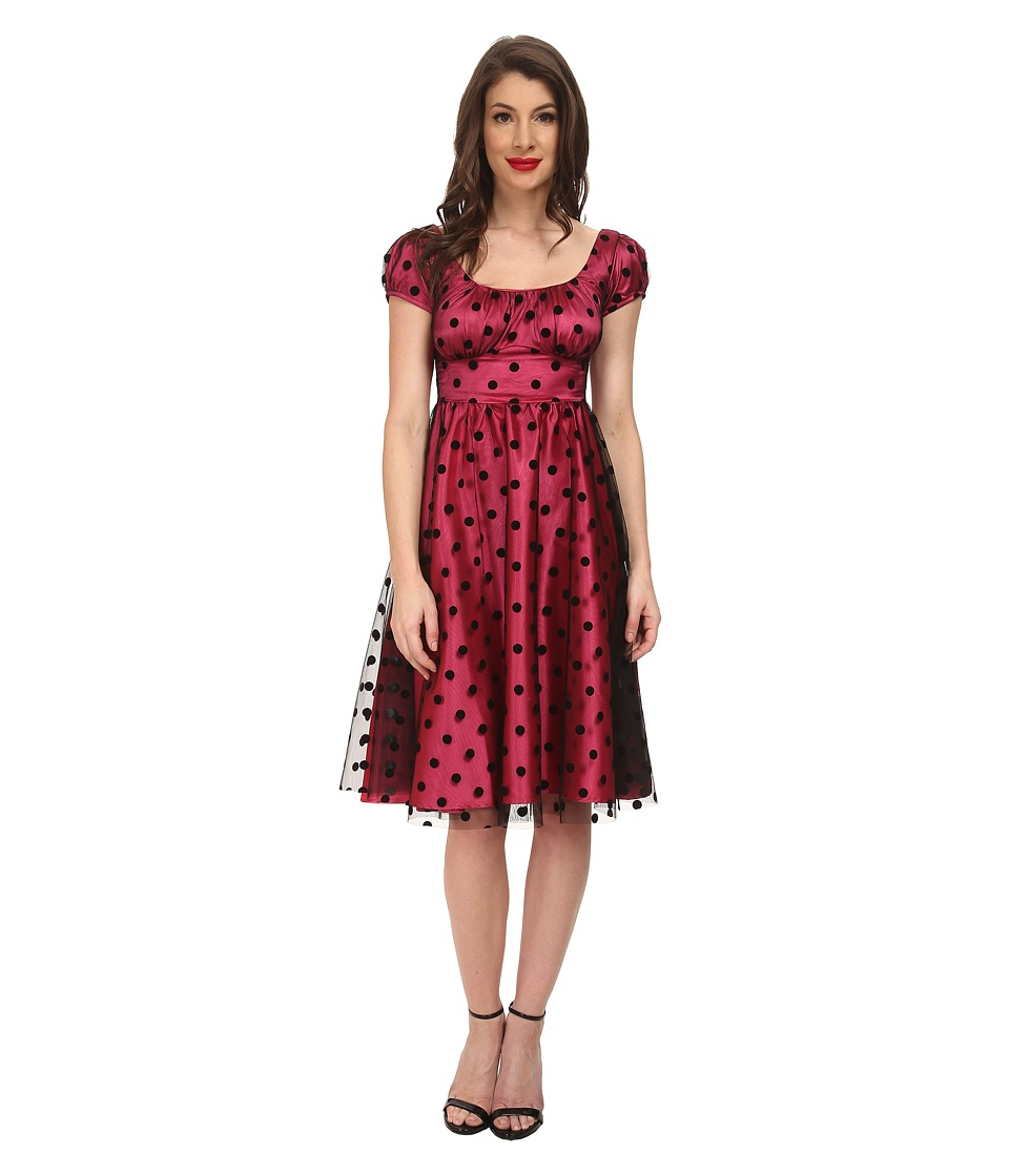 Stop Staring! - Clara Swing Dress (Hot Pink/Black Dot) Women's Dress