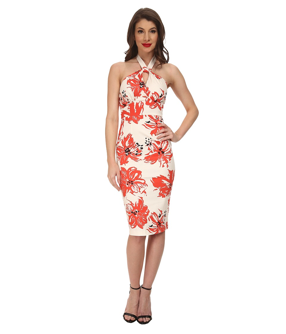 Stop Staring! - Acacia Fitted Dress (Coral Floral) Women's Dress