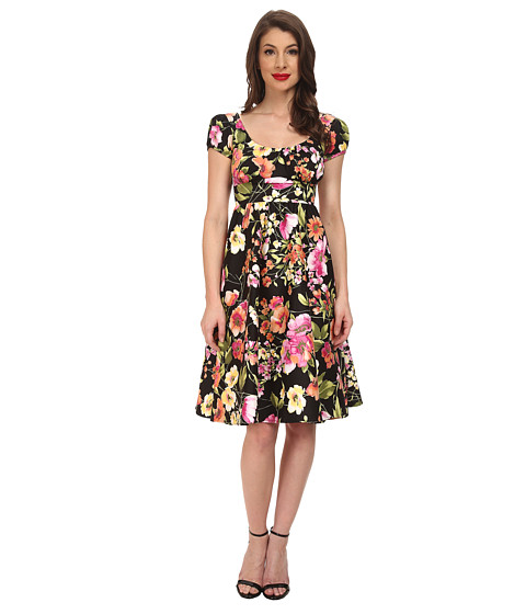 Stop Staring! - Haylie Swing Dress (Spring Black Floral) Women