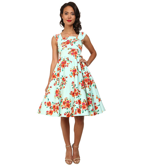Stop Staring! - Primrose Swing Dress (Mint Floral) Women