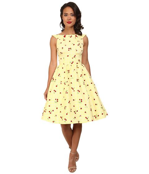 Stop Staring! - Cherry Lemon Swing Dress (Yellow Cherry) Women